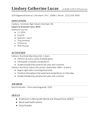 High School Student Resume Template No Experience Australia