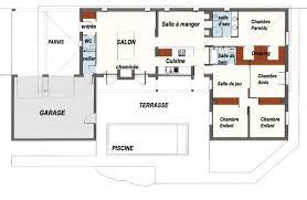 plan maison en forme de u avec piscine plans maisons
