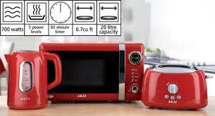 Akai Kitchen Triple Pack Including Kettle Toaster And Microwave Red