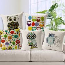 großhandel blaue eulen bäume kissenbezug platz baumwolle leinen atmungsaktiv kissen kissenbezug handgemalte dekokissen cases wohnzimmer schlafzimmer
