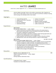 Teacher Resume Examples Education Samples Summary Highlight Sample Resumes