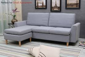 100 Sofa Modern Furniture Sectional LShape Sectional Couch With Reversible Chaise Couches And S With Linen Fabric For Small Space GreyBlue