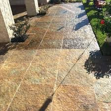 exterior tile flooring before after cleaning limestone patio