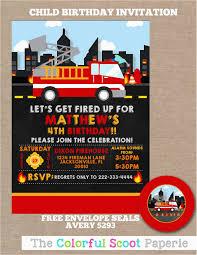 100 Fire Truck Birthday Party Invitations Man Invites Buzz
