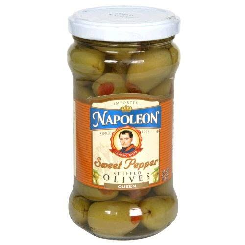 Napoleon Sweet Pepper Stuffed Olives, Queen - 6.5 oz
