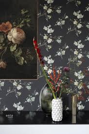 wohnzimmer tapete kirschblüten grün ockergelb und schwarz 148719