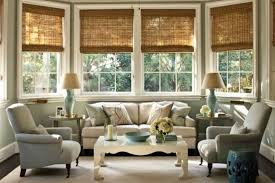 Living Room Bay Windows Decorated With Bamboo Blinds