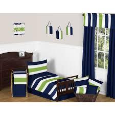 Navy Blue Lime Green Stripe Boy s 5 piece Toddler Bedding