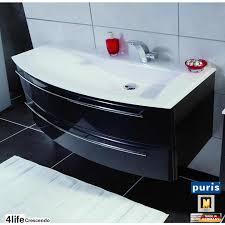 puris crescendo badmöbel als waschtisch set 140 cm glas links schmal