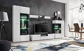 kryspol wohnwand solido anbauwand wohnzimmer set modern design norwegische kiefer schwarz weiß glanz