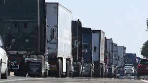 Truck Drivers Demonstrating Against Costly Regulation Stage Rolling ...
