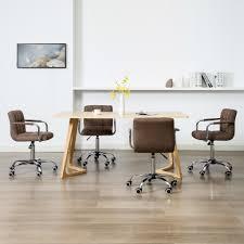 vidaxl esszimmerstühle drehbar 4 stk braun stoff gitoparts