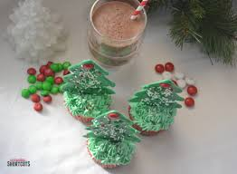 Edible Christmas Tree Cupcake Toppers And Peppermint Hot Chocolate