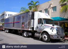 Miami Beach Florida Collins Avenue Truck Lorrie 18-wheeler Stock ...