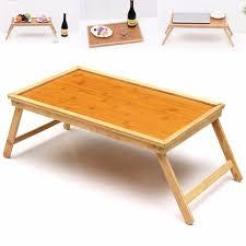 Foldable Wooden Bamboo Bed Tray Breakfast Laptop Desk Tea Serving