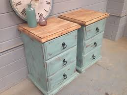 2X Shabby Chic Bedside Tables French Drawers Vintage Rustic Beach Style