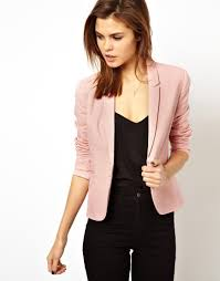 asos linen tailored blazer in pink lyst