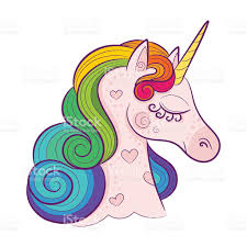 Head Of Cute White Unicorn With Rainbow Mane Isolated Stock Vector