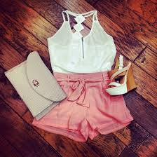 Tank Top White Zip High Heels Sandals Cute Summer Outfits Girly Tumblr Shorts