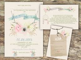 Personalised Rustic Watercolour Pastel Floral Antler Wedding Invitations 10s