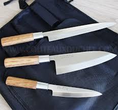 couteau cuisine sabatier trousse style japonais 3 couteaux avec protection