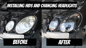 how to install hids and change the headlights for a mercedes