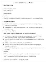 Sample Quality Control Technician Resume Template