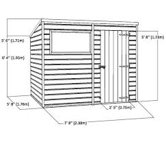 8 x 6 single door tongue and groove pent shed