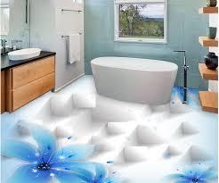 hause dekoration blaue lilie schöne transparente blumen 3d mode bodenbelag pvc boden tapete bad wasserdicht tapete