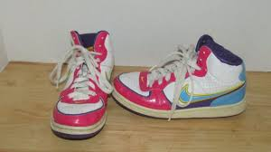 Vintage Nike High Top Pink Blue Yellow Worn Girls Youth Shoes 45 Y Leather