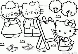Hello Kitty Painting Her Parents E144939118665903b8 Coloring Pages Print Download 501 Prints