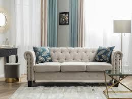 sofa chesterfield gerade beine beige ch
