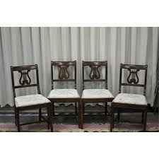 Lyre Back Chairs Antique by Krug Walnut Harp Back Chairs
