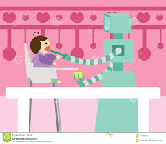 Domestic Robot Spoon Feeding Small Baby Sitting On High Chair In ... Best High Chair Y Baby Bargains Contemporary Back Ding Home Office Dntt End 10282017 915 Am Spchdntt 04h Supreme Fniture System Orb Highchair For 6 Months To 3 Years 01h Node Desk Chairs Classroom Steelcase Futuristic Restaurant Sale On Design Kidkraft Fniture With Awesome Black Leather Outin Metallic Silver Gray By P Starck And E Quitllet