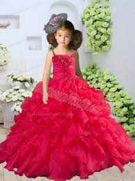 straps beading and ruching little pageant dress in coral red