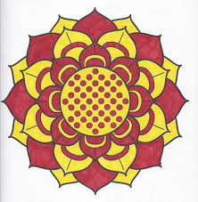 Red And Yellow Flower Mandala Page Can Be Found In Meditation Coloring Book By Barnes