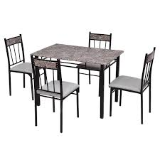 Amazon.com - Black Metal 5 Pcs Faux Marble Dining Table Set ... Steel Ding Room Chairs Kallekoponnet Modern Narrow Table Set Cute With Photo Of 36 Round Natural Laminate With Xbase And 4 Ladder Back Metal Black Vinyl Seat 2 Ding Tables 8 Chairs In Metal Black Retro Design Square Walnut Grid Barstools Amazoncom Shing Wood Laneberg Svenbertil Brown Lucano Marble Leather Mesmerizing Iron Legs Reclaimed Base 5 Piece Kitchen Tag Archived Of Polyurethane Likable Pcs Table