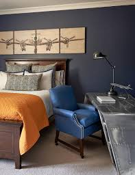 blue and orange boy bedroom with aviator wing desk traditional