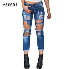 online get cheap large ripped jeans for women aliexpress com