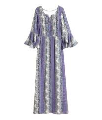 h u0026m patterned maxi dress in blue lyst