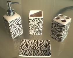 Amazon Zebra Print Ceramic Bathroom Set 4 Pieces Animal Bath Decor