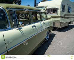 100 Restored Travel Trailer Classic Chevy Wagon And RV Stock Image Image Of Hobby