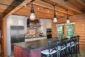 Rustic Kitchen With Slate Counters Craft Bristol Cabinet Door Style Pendant Light