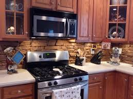 Tin Tiles For Backsplash by Kitchen Inspiration For Rustic Kitchen Using Rock Backsplash