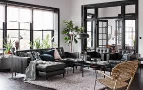 A Black Beige And White Living Room With Leather Sofa Chaise Longues