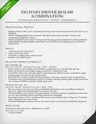 Delivery Driver Combination Resume Sample Thumb