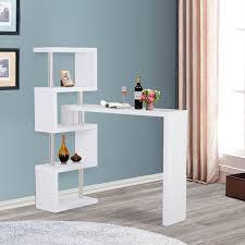 homcom bartisch stehtisch bartheke tresentisch mit 4 ablagefläche multi winkel weiß