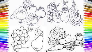 Fruits Vegetables Coloring Book Fun Painting How To Paint Pages