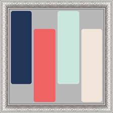 Mint Coral And Navy Paint Scheme Against The Grey Closets