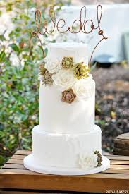 Rustic Succulents Wedding Cake